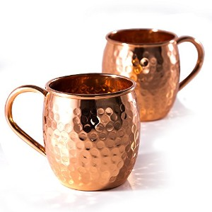 Treasure Coastキッチン – Moscow Mule Hammered銅マグカップ – のセット2 with handles- Ourソリッド16オンス銅マグは本物Pure Copper...