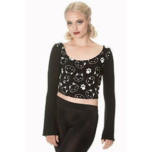 Banned Apparel - Purrrrfect Kitty Flare Sleeve Top XL