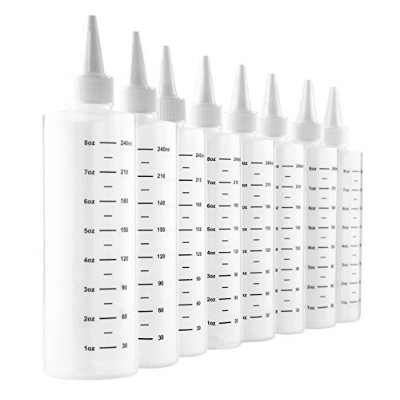 (8) - 240ml Plastic Squeeze Bottles with Graduated Measurements (8-Pack); Great for Frosting,...