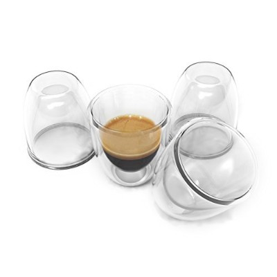 Double Wall Espresso Cups Set - Insulated Coffee Shot Glasses - 80ml, Set of 4 - Demitasse Gift Box