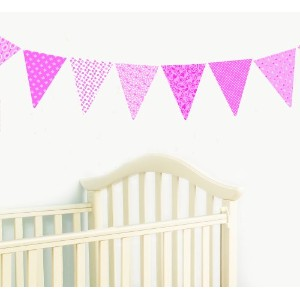 Vintage Bunting Wall Stickers - Pink Collection
