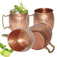 Moscow Mule銅マグカップのセット4- 3ソリッド銅手作り銅マグカップfor Moscow Muleカクテル–18ounce 530ml