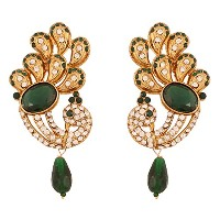 Touchstone Indian Bollywood Faux Emeraldディアマンテ孔雀ペイズリージュエリーイヤリングアンティークゴールドトーン