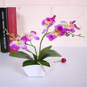 lbzezr人工バタフライOrchid Flower LeavesウェディングFake盆栽ホームデコレーション パープル FKJ100103YV5UL63