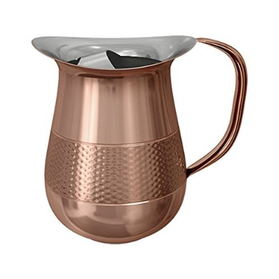 nu steel TG-WP-1CH/IC Copper Hammerd Water Pitcher 1.5 LT W/Ice Catcher Hammered, Shiny