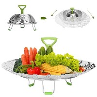 """Steamerバスケット、joinkitchステンレススチールFood SteamerバスケットVegetable Steamer調節可能( 7"""" to 11"""" ) with Handle..."""