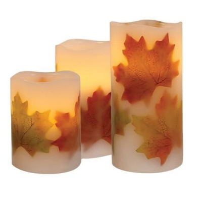 Order 3Piece Harvest Flameless Candle withタイマー