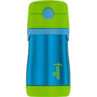 Thermos FOOGO Vacuum Insulated Stainless Steel 10-Ounce Straw Bottle, Blue/Green [並行輸入品]
