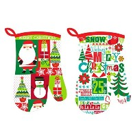 oven mitts、Merry Christmas 2デザインAssorted、耐熱手袋耐熱性、Merry Christmas Printed、環境に優しい&安全、2のセット、サイズ7 x...