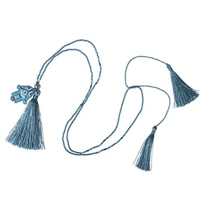 KELITCH Festivalシン文字列ビーズチェーンLayering Necklace with Tassel