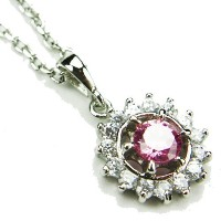 """cz-saturnネックレス、ピンクtopaz-colored & diamond-colored CZs、18"""""""