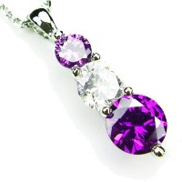 """cz-snowmanネックレス、amethyst-colored & diamond-colored CZs、18"""""""