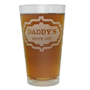 Daddy 's Sippy Cup–Engraved Beer Pint Glass–16oz–永久にエッチング–Fun & Uniqueギフト