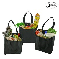 Simple Ecology Organic Cotton Deluxe Reusable Grocery Bag with Bottle Sleeves - Black by Simple...