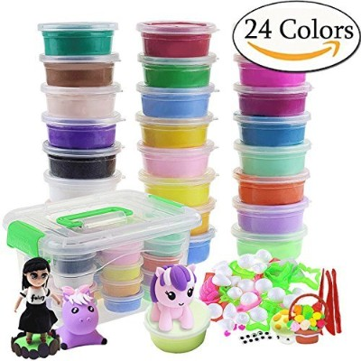 Szsrcywd 24 Colours Magic Ultra Air Dry DIY Modelling Clay Set Craft Kit with Accessories,Non-toxic...