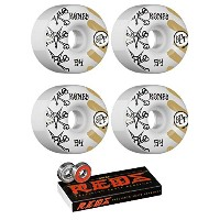 54 mm Bones Wheels WarペイントスケートボードWheels with Bones Bearings – 8 mm Bones Reds Precisionスケート定格スケートボード...