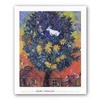 "Autumn in the village by Marc Chagall 27 "" x22 ""アートプリントポスター"