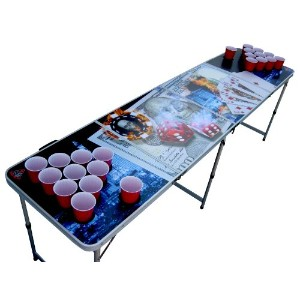 Vegas PokerポータブルBeer Pong Table with Holes