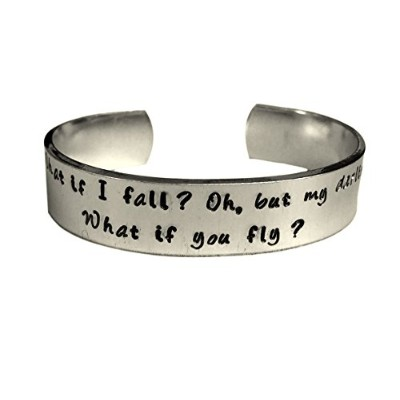 What If I FallがOh My Darling What If You Fly – Hand Stamped – Encouragement Cuff Inspirational...