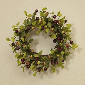 22インチ人工緑と赤Crabapple Wreath on a Natural Twigベース
