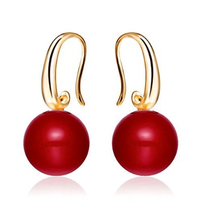 Merdia Charming Earrings Drop Simulated Pearl Hook Earrings 12MM Red