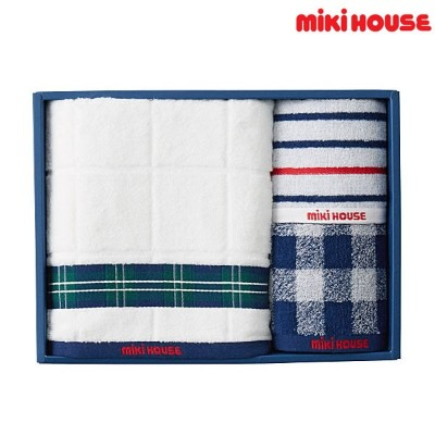 【MHフェア】ミキハウス【MIKIHOUSE】 ミニバス&ミニタオル2枚セット(箱入)(日本製) 【べビー】 【キッズ】