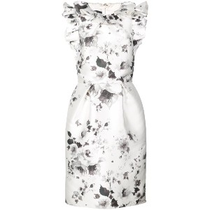 Monique Lhuillier floral print ruffle dress - ホワイト