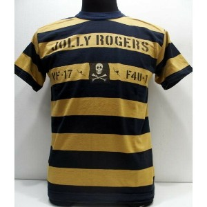 TOYS McCOY(トイズマッコイ)[Military Bordered Tee Shirt/U.S.NAVY-JOLLY ROGERS]ミリタリーボーダーTEE U.S.ネイビー...