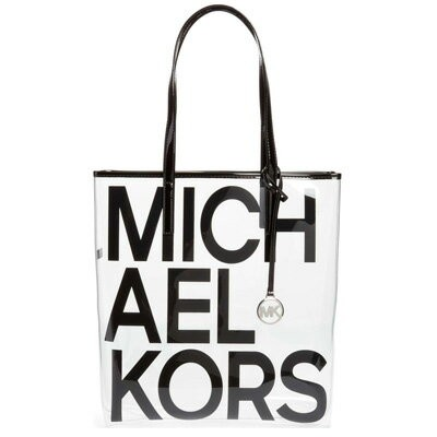 マイケルコース トートバッグ Michael Michael Kors The Michael Bag Large North South Tote (Black) ロゴ ラージ クリア...