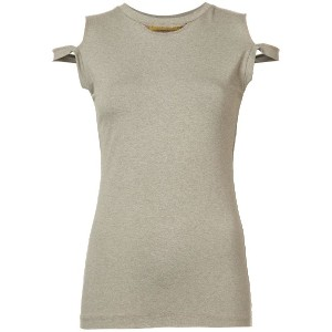 Nicole Miller cut-out detail tank top - ブラウン