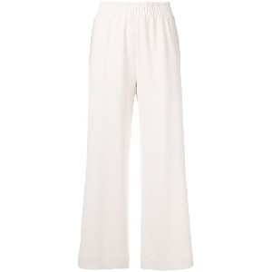 See By Chloé embroidered stripe wide leg trousers - ヌード&ナチュラル