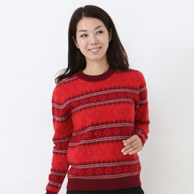 【OUTLET】 リブ編みクルーネックセーター (302-005) カシミヤセーター カシミヤ クルーネック カシミヤ100% カシミア セーター リブ編み