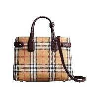 Burberry The Small Banner in Vintage Check and Leather - イエロー&オレンジ