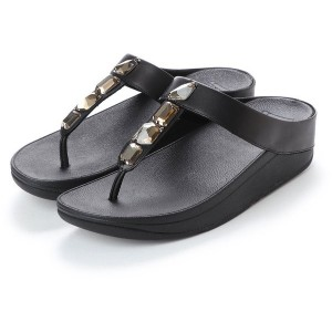【SALE 50%OFF】フィットフロップ FitFlop ROKA TOE-THONG SANDALS - LEATHER (Black) レディース