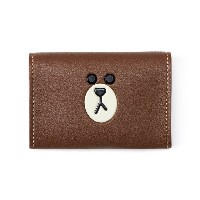 Line Friends Store Official Goods : Brown Leather Like Card Wallet
