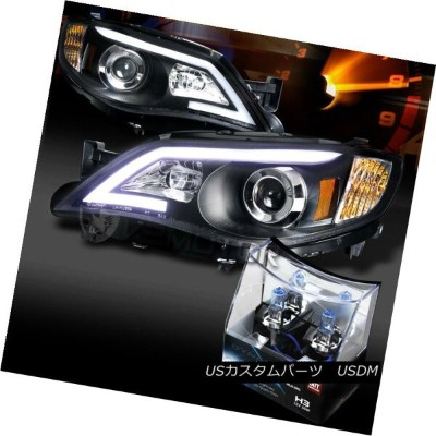 ヘッドライト For 08-14 Impreza WRX Black LED DRL Projector Headlights+H3 Halogen Bulbs 08-14インプレッサWRXブラックL...