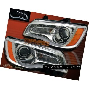 ヘッドライト 11-14 CHRYSLER 300 PROJECTOR HEADLIGHTS w LED & LED STRIPE BAR CHROME CLEAR PAIR 11...