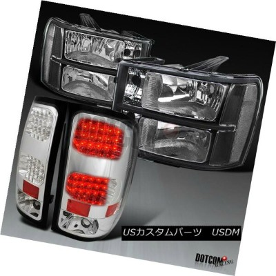 ヘッドライト 07-13 GMC Sierra 1500 Euro Black Diamond Headlights+Chrome Clear LED Tail Lamps 07-13 GMC...