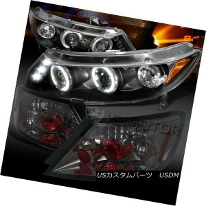 ヘッドライト For 06-11 Civic 2DR Black Halo LED Projector Headlights+Smoke Tail Lamps 06-11シビック2DRブラックハローL...