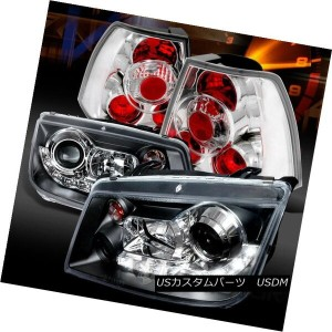 ヘッドライト Fit 99-04 Jetta Black R8 LED Loop Projector Headlights+Chrome Tail Lamps フィット99-04ジェッタブラックR8...