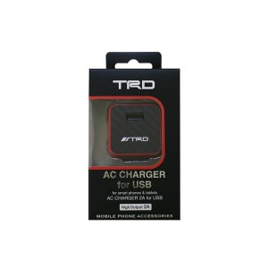 TRD 公式ライセンス商品 AC Charger for USB 2A Red AC充電器 USBポート1口・出力2A TRDAJ-SDXR