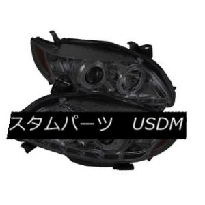 ヘッドライト Toyota 09-10 Corolla Smoke DRL Dual Halo LED Projector Headlights Lamp Sedan トヨタ09-10カローラスモーク...