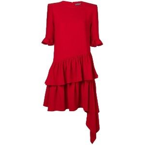 Alexander McQueen short ruffle dress - レッド