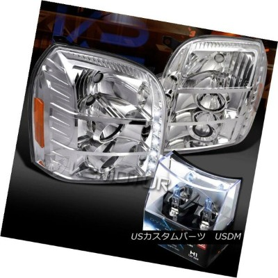 ヘッドライト 07-12 GMC Yukon Denali Chrome LED Projector Headlights+H1 Halogen Bulbs 07-12 GMCユーコンデナリクロームL...