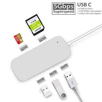 Belker Hyperdriveサンダーボルト3 USB - Cハブfor MacBook Pro、Chromebook Pixel /最速5 GB / sハブfor 2016 Macbook...