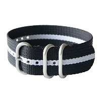 23mm Zulu Strap Band NATO Luminox ナトー ズールー語 ルミノックスバンド互換品 #[3Ring_23mm_Black/White_Stainless]