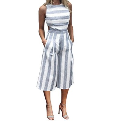 (X-Large, Blue) - Hatoppy Women Sleeveless Striped Jumpsuit Casual Clubwear Wide Leg Pants Outfit ...