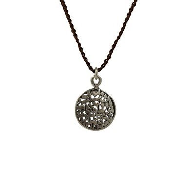 SHEMA Necklace with Sterling Silver Shema Pendant on Brown Knitted Cord for Men & Women