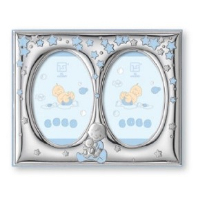 Silver Touch USA Finest Sterling Silver Double Picture Frame, Blue, 5 X 7 by Silver Touch USA