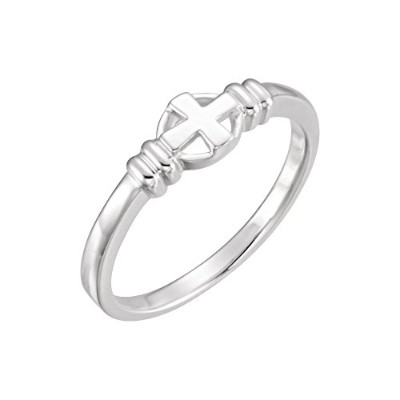 Beautiful White gold 14K White-gold Cross Chastity Ring comes with a Free Jewelry Gift